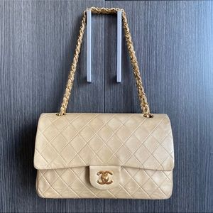Authentic Beige Chanel Double Flap Bag Lambskin